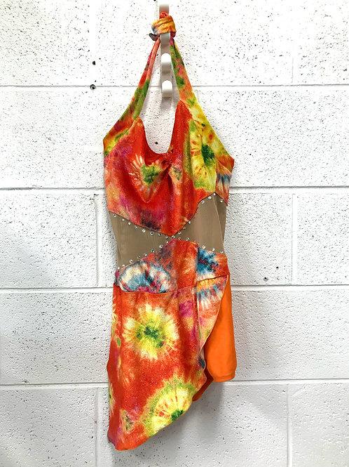 Bright colored halter leotard skirt (S)
