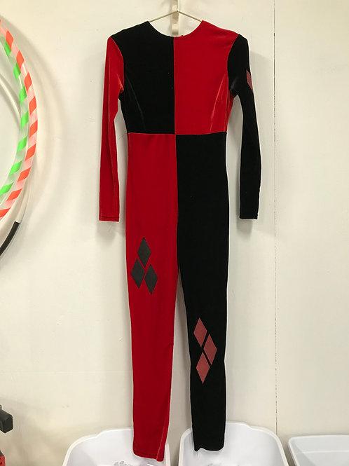 Black & Red velvet catsuit w/ back zipper (S)