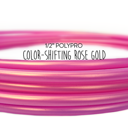 "1/2"" Color-shifting Rose Gold Polypro Hula Hoop"