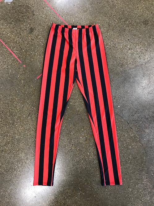 Black & Red striped leggings (S)