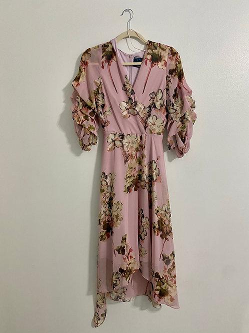 Pink Floral Dress (Size 6)