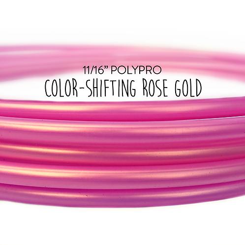 """11/16"""" Color-shifting Rose Gold Polypro Hula Hoop"""