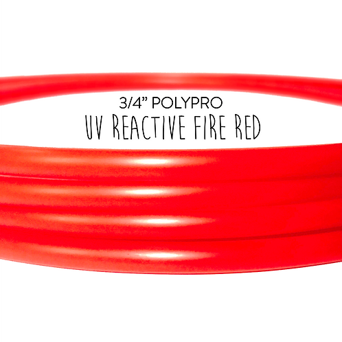 "3/4"" UV Reactive Fire Red Polypro Hula Hoop"
