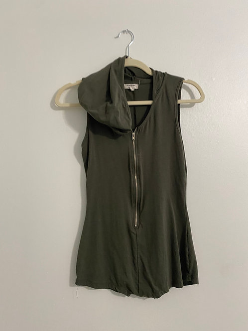 Olive zip up tank with hood (S)