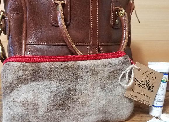 Wool Felt Zipper Pouch - Large