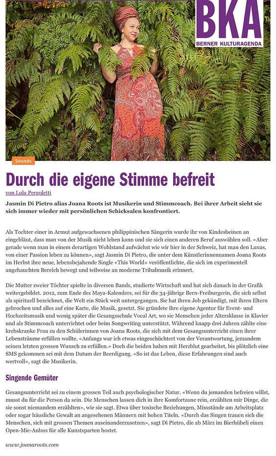 Joana Roots in der Berner Kulturagenda 2