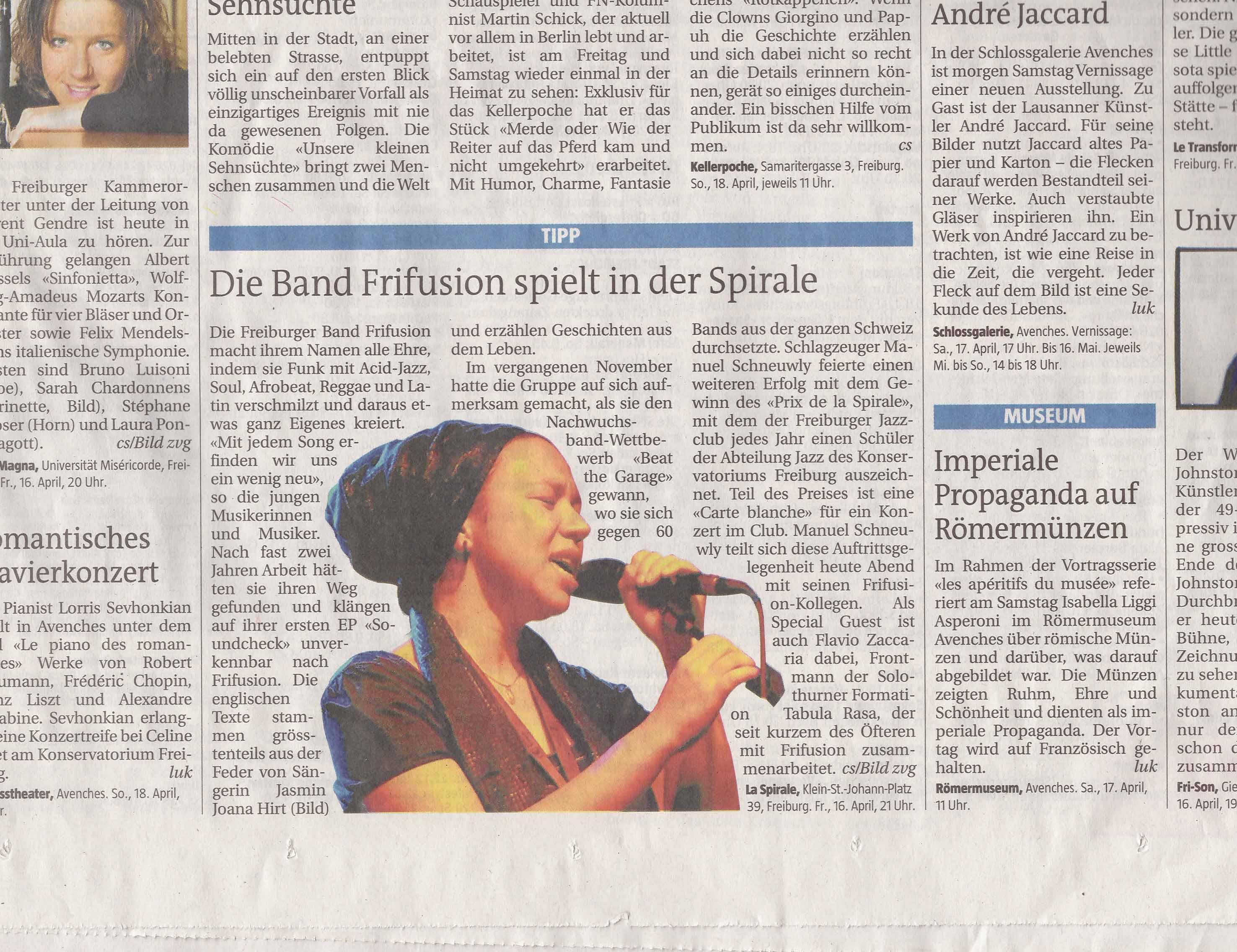 Freiburger Nachrichten Jasmin Joana Hirt Frifusion Bericht