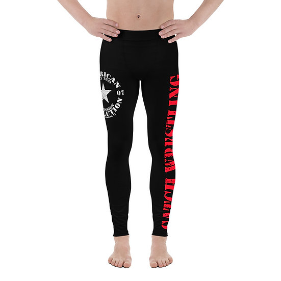 Men's Black and Red American Revolution 'Catch Wrestling' Leggings