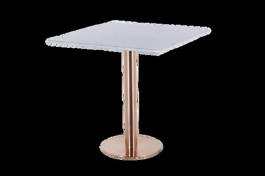 โต๊ะขาเดี่ยว สแตนเลสแฮร์ไลน์ โรสโกลด์ พื้นแบน