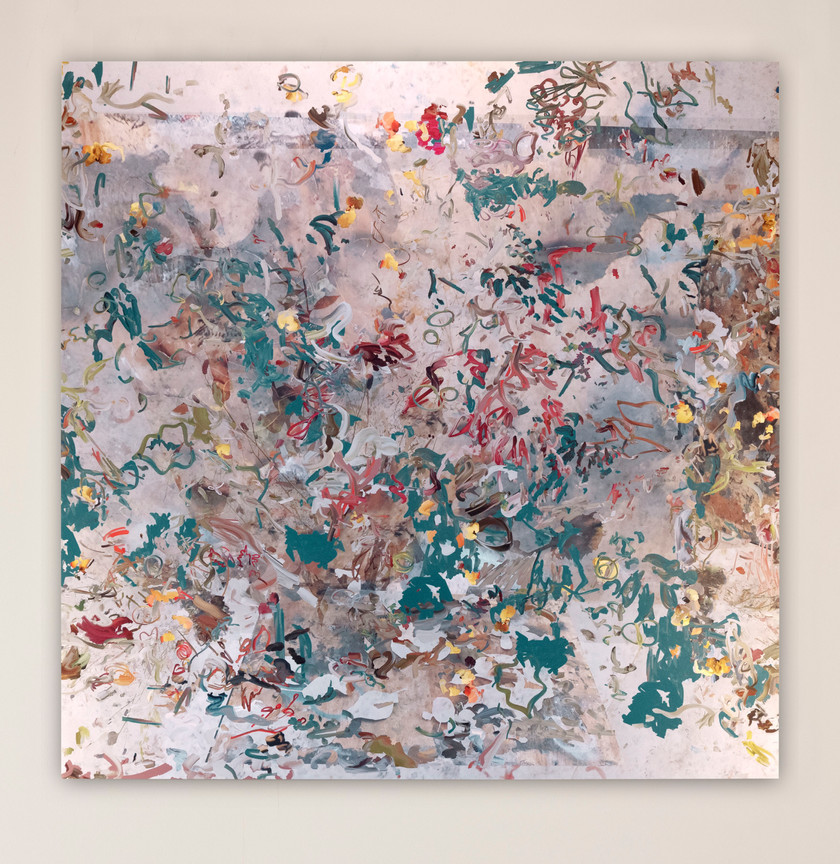 "Petra Cortright manifestazioni aeree_naked beach ""Now contact"" AND ""up-to- date"", 2020 Digital painting on anodized aluminum 83 x 83 cm"
