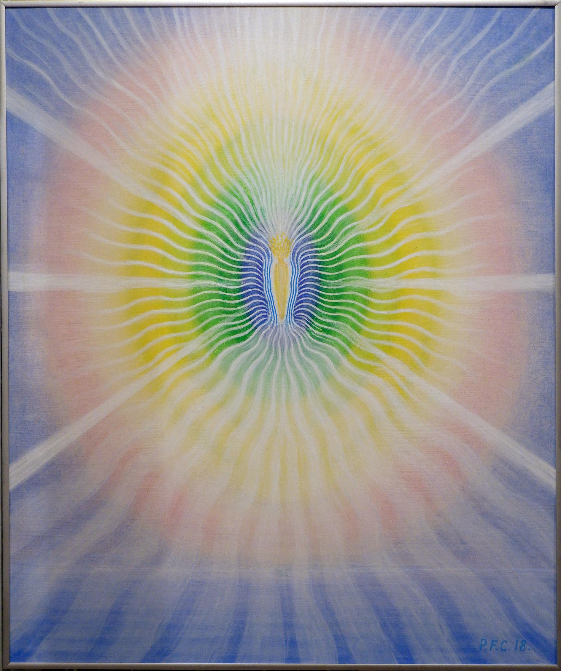 Peter Fich Christiansen Sol-udstrømninger, 2018 Acrylic on masonite 71 x 50 cm