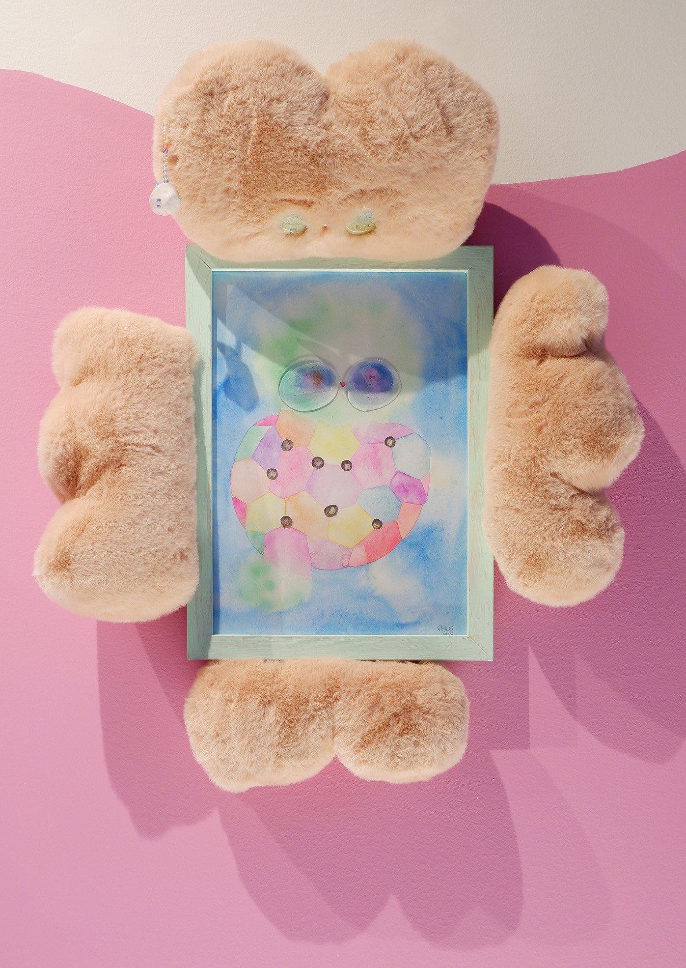 Nhozagri Aturtle in My Heart, 2020 Watercolor on paper, resin, plush, clay 45 x 30 cm