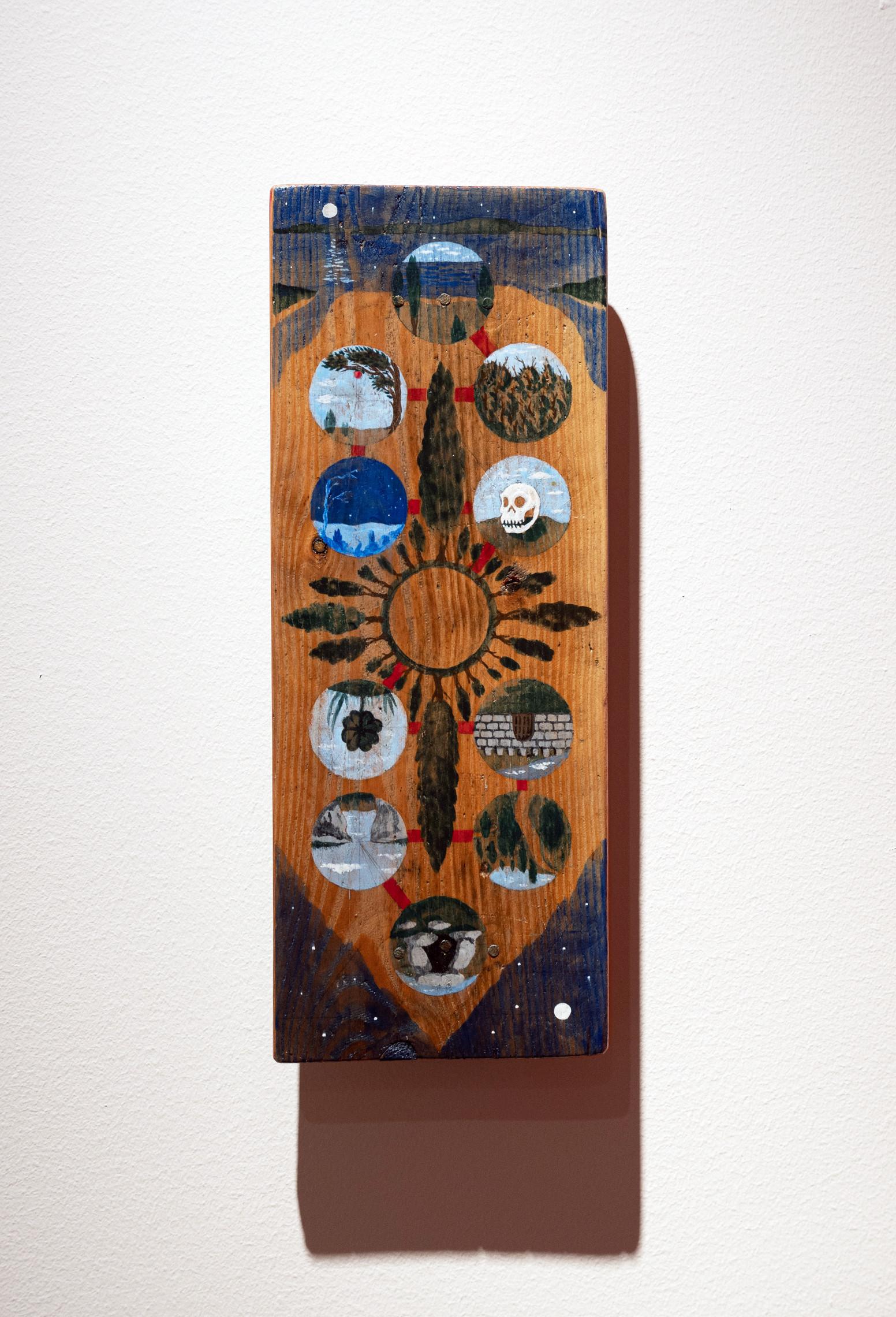 Albin Werle Under Himlens Alla Stjärnor, 2020 Gouache on wood, lacquer 14x36x4 cm