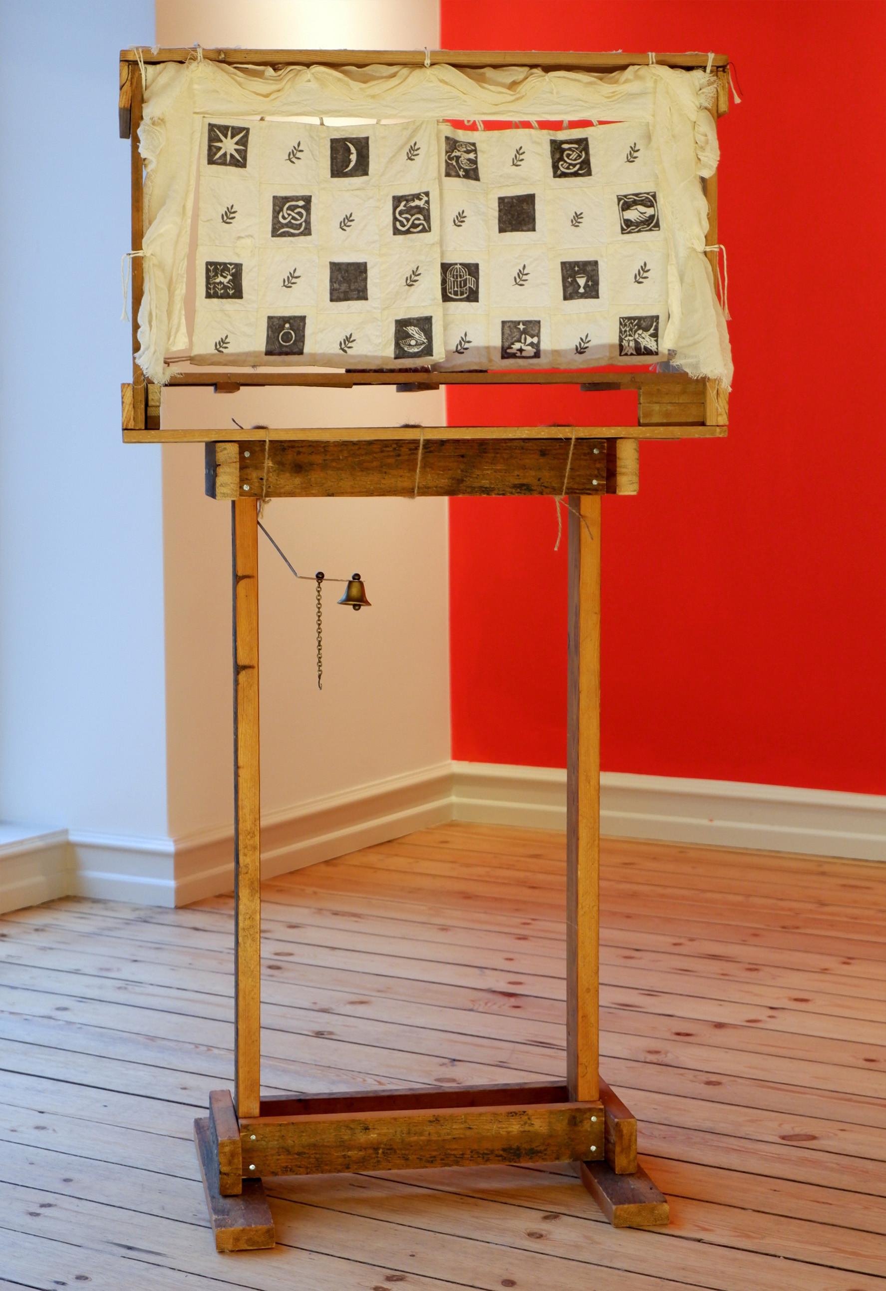 Albin Werle Tröskel, Tröskel, 2020 Wood, string, cotton, ink, brass bell, roses 22x63x122 cm