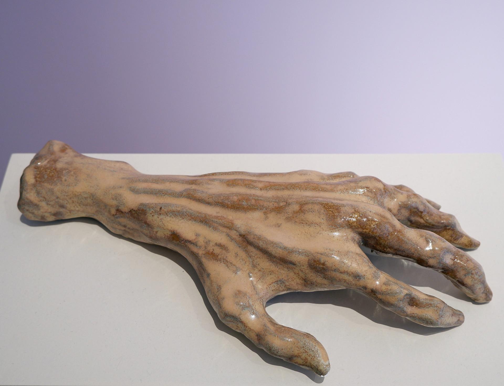 Klara Lilja Hand of Glory - Rutil, 2019 White clay, glaze (stoneware) 35 x 14 x 8 cm