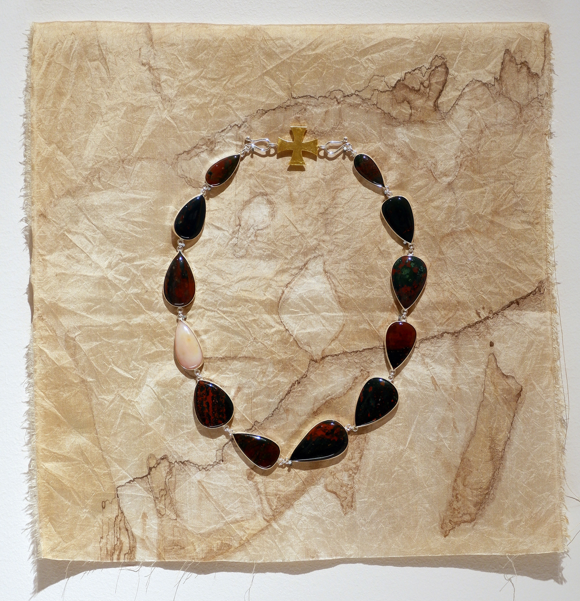 Inger Grubbe 12 Tears Sterling silver, 24 carat gold foil, bloodstone and pink opal 45 x 45 x 4 cm
