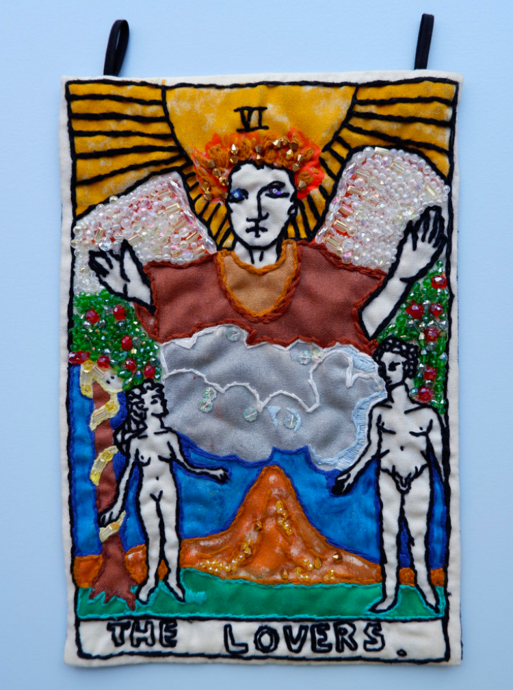 Berenike Corcuera VI The Lovers, Taroracle Book, 2020 Textile and Mixed Materials 38 x 25 cm