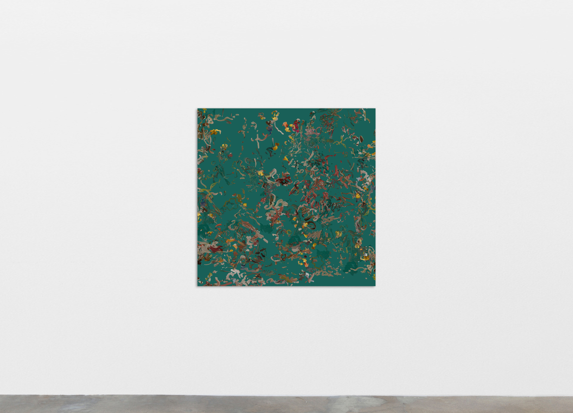 """Petra Cortright Kettle Chips """"lab/greyhound mix""""_landrover renovation 1961 LANDR9.EXE:, 2020 Digital painting on anodized aluminum 83.82 x 83.82 cm 33 x 33 in"""