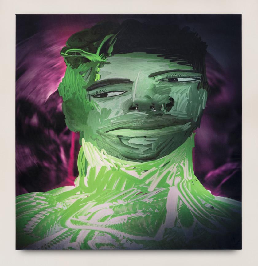 Ry David Bradley _L5ro, 2020 Acrylic tapestry 125 x 130 cm