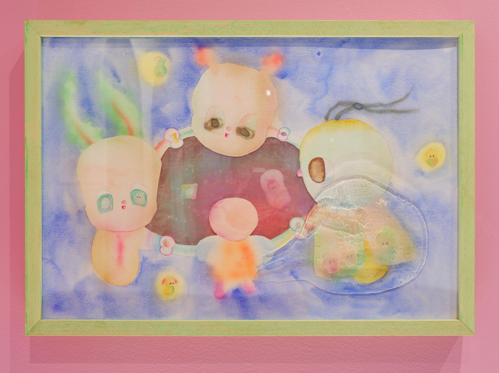 Nhozagri Lets Play, 2019 Watercolor on paper, resin 40 x 50 cm