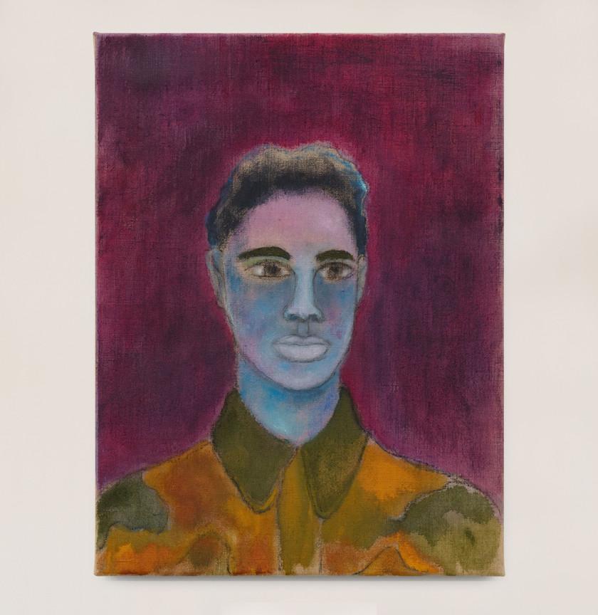 Kasper Sonne Camo Shirt, 2021 Oil on linen 40 x 30 cm