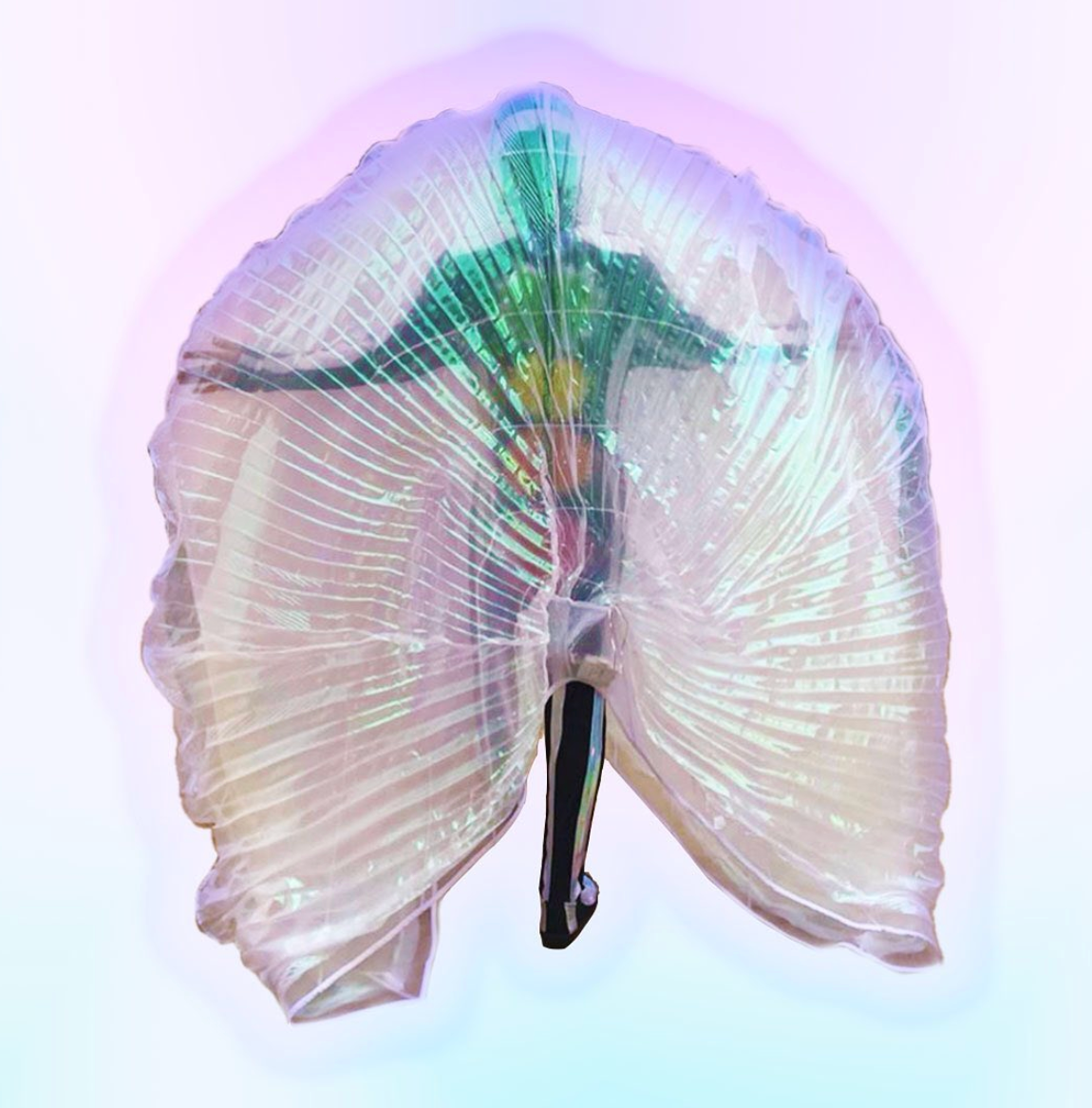 Berenike Corcuera Ketheric Body Cape (holographic LED lining), 2019 White nylon crinoline panels and transparent shimmer polyester with integrated LED lights