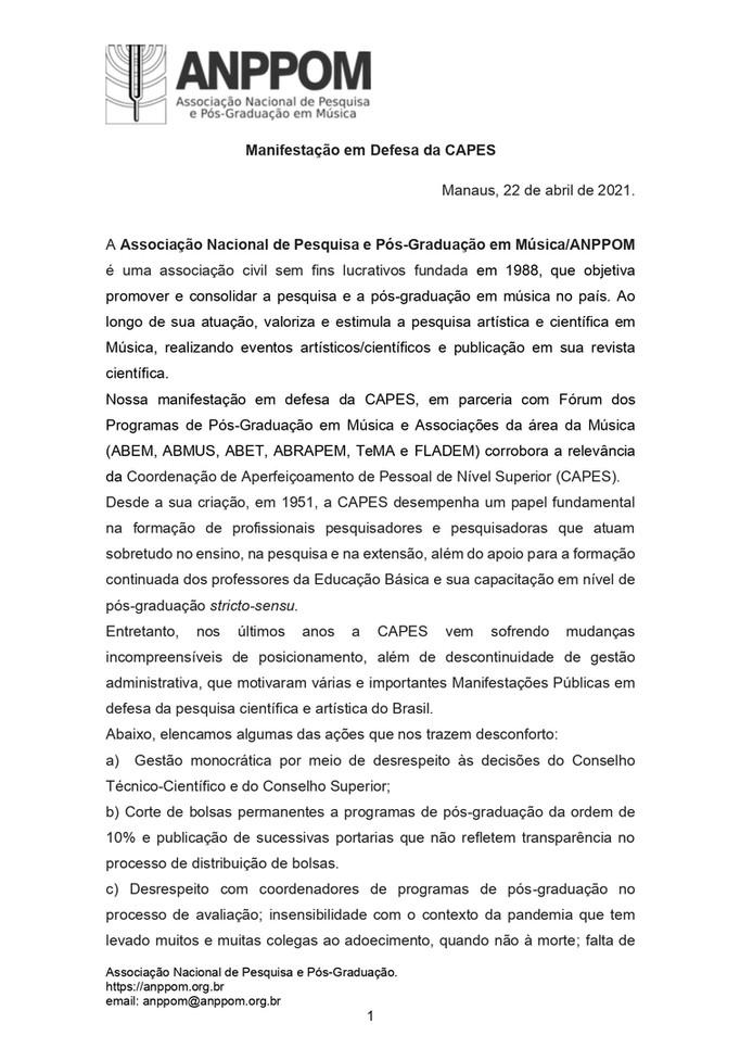 Manifestação da ANPPOM e Associações d