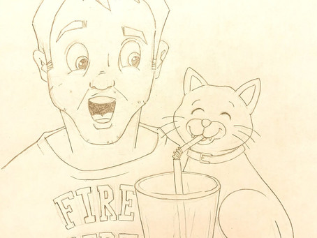 Fireman, Drink, Surprised Face, Clock & Cat