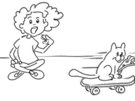 Cat, Pizza, Singing, Surprised Face & Skateboard