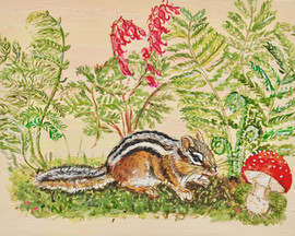 Chipmunk with Fly Agaric Dicentra and Mo