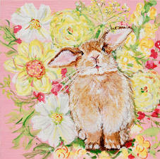 Phoebe the Fluffy French Rabbit with Cosmos, Dahlias, Zinnias and Snapdragons on Pink
