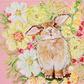 Phoebe Lapin in the Summer Garden 8x8x1