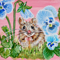 Mouse & Pansies on Pink