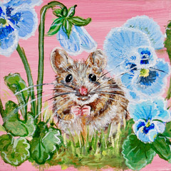 Mouse on Pink with Pansies 4x4x1 SOLD