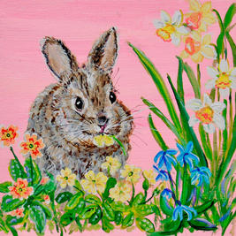 Baby Bunny in the Spring Garden with Jonquils, Scilla and Primrose
