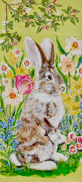 Emil the German Giant Rabbit in the Spring Garden withTulips, Daffodils, Forget Me Nots, English Daisies and Apple Blossoms on Green