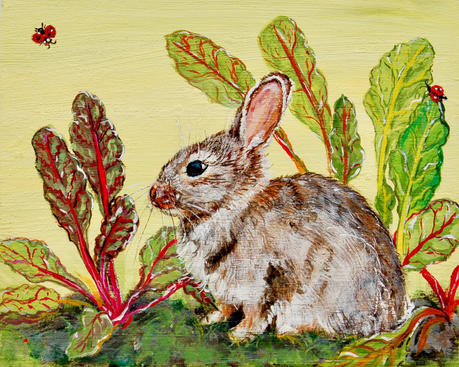 Bunny in Pofile on Pear with Rainbow Swiss Chard