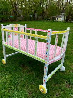Fok Art Doll Crib on wheels
