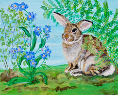 Young Buck Rabbit with Ferns and Forget Me Nots on Blue