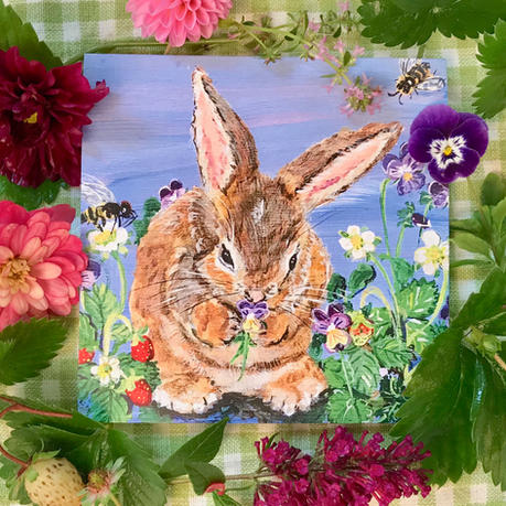 """""""Washing Bunny"""" square notecard with matching envelope"""