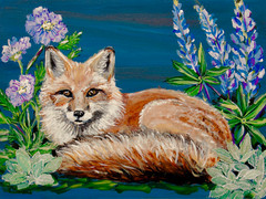 Moonlight Vixen with Lupine 9x12x1 SOLD