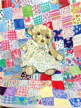 Emily Bear on Feedsack Quilt