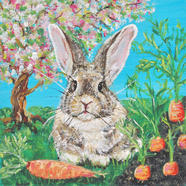 Emil the Baby German Rabbit in the Carrot Patch under the Apple Tree