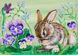 Baby Bunny George Washing with Pansies and Forget-me-Nots