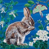 Moonbath Bunny with Luna Moth, Clematis and Geranium