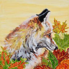 Autumn Fox on Gold with Leaves