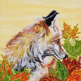 Autumn Fox on Gold 8x8x1 SOLD