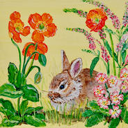 Bunny in Repose with Meconopsis, Primrose and Veronica on yellow