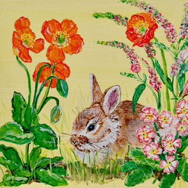 Bunny in Repose with Primula and Veronic