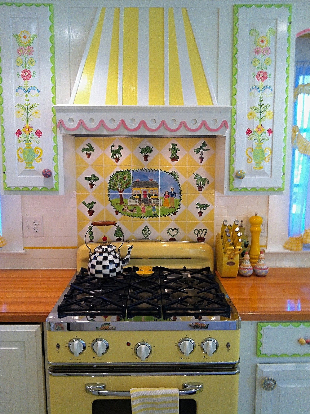 Hand painted Backsplash and cabinets